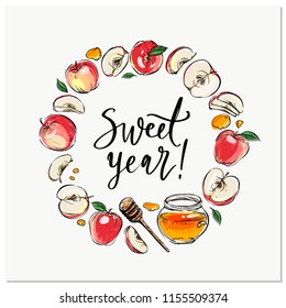 Happy Rosh Hashanah hand drawn vector wreath card, border, background, banner, frame with honey, apples, pomegranate and shofar horn,with handlettered sign Have a Sweet Year! Shana Tova!