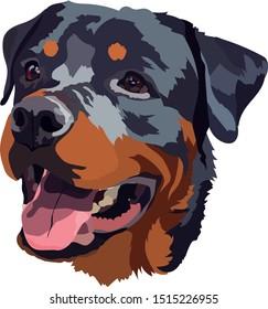 Happy Rottweiler Face Handdrawn Vector