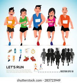 happy runner group with running kit elements and silhouette. character design. info graphic. let's run concept- vector illustration