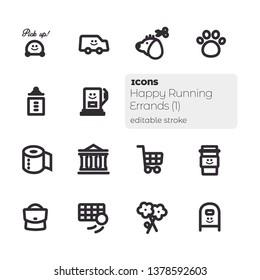 Happy Running Errands (1), Editable Stroke Vector Icon Set
