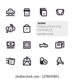 Happy Running Errands (2), Editable Stroke Vector Icon Set