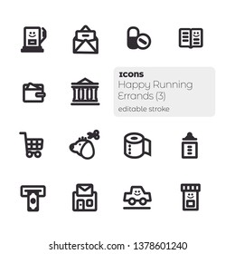 Happy Running Errands (3), Editable Stroke Vector Icon Set