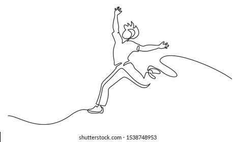 Happy running man. Continuous one line drawing. Vector illustration.