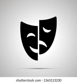 Happy and sad drama mask silhouette, simple black icon