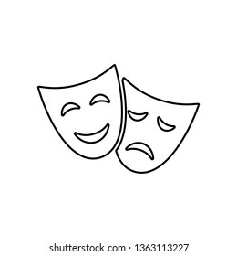 Happy and sad drama mask, simple outline black icon