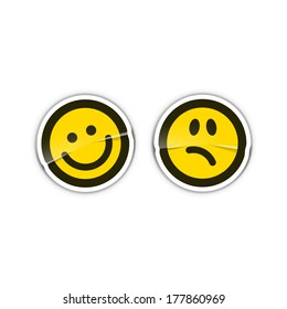 Happy and sad emotion stickers