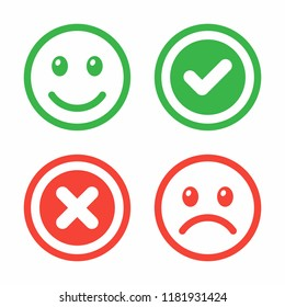 Happy and sad face, tick and cross. Vector icon set.