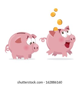 happy and sad Piggy bank with money and empty