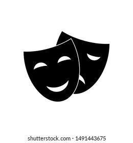 Happy and sad theater mask vector icon