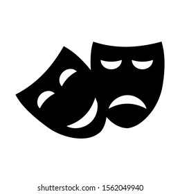 Happy and sad theater mask vector icon on a white background