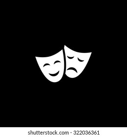 Happy and sad Theater masks. Simple flat icon. Black and white. Vector illustration
