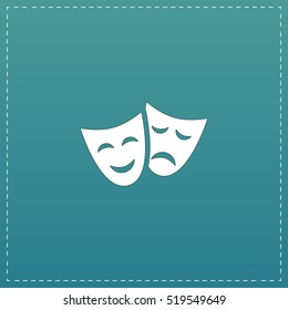 Happy and sad Theater masks. White flat icon with black stroke on blue background