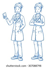 Happy and sad young female doctor in two emotions. Hand drawn cartoon doodle vector illustration.