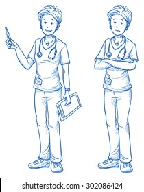 Happy and sad young female nurse with a clinical thermometer in one hand and a clipboard in the other, in two emotions. Hand drawn cartoon doodle vector illustration.