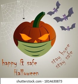 Happy and safe Halloween poster for party invitations & banners. The illustrations shows a pumpkin latern wearing mask to depict the importance of health safety during this crucial period of pandemic.