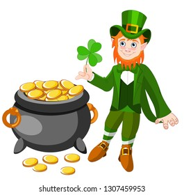 Happy Saint Patrick s Day. Character with green hat. Cartoon funny leprechaun with clover. Vector illustration