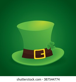 happy saint patrick's day 17 march with leprechaun hat and shamrock leaves background
