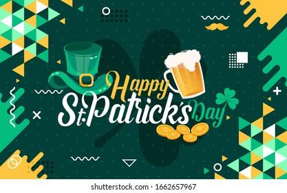 Happy Saint Patrick's day banner with St. Patrick icons like bear glass, cap, gold coins, mustache & clover leaf etc. St patricks green theme design with modern retro abstract Irish background.