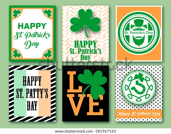 Happy Saint Patrick's Day Banner collection. Set of greeting card, invitation, poster design templates. Patrick's festive card. Vector illustration