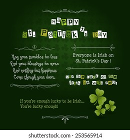 Happy Saint Patrick's Day Card with green clover leafs and Irish blessings. Vector illustration EPS 10