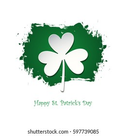 Happy Saint Patrick's Day celebration card with lucky clover on green brush stroke background. Vector illustration.