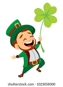 Happy Saint Patrick's Day. Character with green hat. Cartoon funny leprechaun with clover. Vector illustration