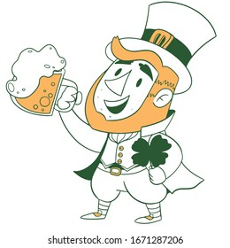 Happy Saint Patrick's Day. Character with green hat. Cartoon funny leprechaun with clover. Vector illustration, flat character. Cute cartoon character holding a pint of fresh beer. Vector illustration