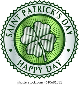 Happy Saint Patrick's day clover greeting card element with Green clover leaf in circle.