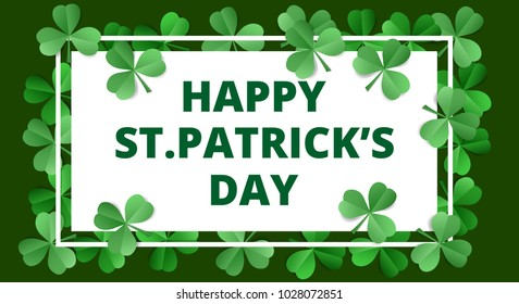 Happy Saint Patricks Day. Greeting card in origami style
