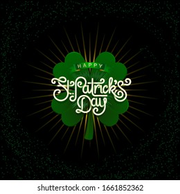 Happy saint Patricks day greeting poster with 3d paper lettering text. lettering on starburst beautiful background. Template for greeting card with lettering and rays.