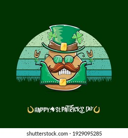 Happy saint patricks day greeting card with funky leprechaun potato character with green particks hat isolated on green background with vintage sun. Rock n roll saint Patrick vegetable funky character