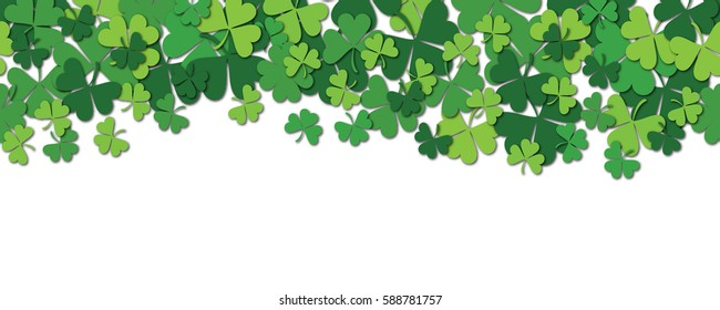 Happy Saint Patrick's day horizontal seamless pattern background with shamrock isolated on white. Vector illustration.