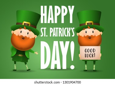 Happy Saint Patricks Day  invitation design. Inscription with two Irish elves on green background. Can be used for postcards, invitations, greeting cards
