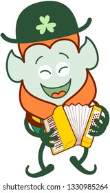 Happy Saint Patrick's Day Leprechaun with red beard, pointy ears and traditional hat and costume having fun while happily playing a folkloric accordion