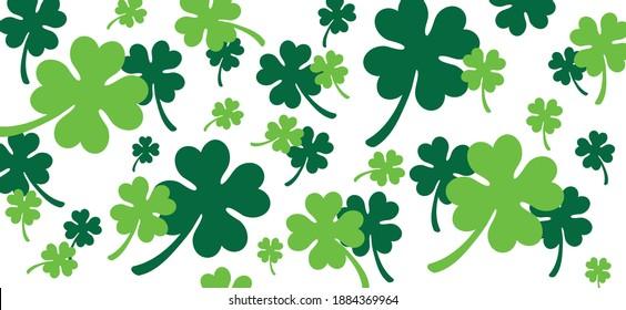 Happy saint Patricks day. Lucky, clover four. Luck shamrock, shamrocks pattern. Irish pub (ireland). Slogan St Patrick's Day or St paddy's day green beer party