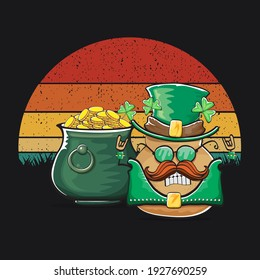 Happy Saint Patrick's day poster with funky leprechaun potato character with green Patricks hat and Pot Full of Golden Coins on vintage sunset background. Rock n roll Patricks day  funky character