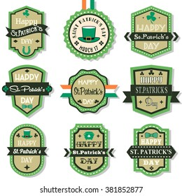 Happy Saint Patrick's Day Retro Vintage Labels Set