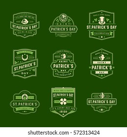 Happy Saint Patricks Day Retro Typographic Badges Set. Vintage Vector design elements set, good for posters and greetings cards.