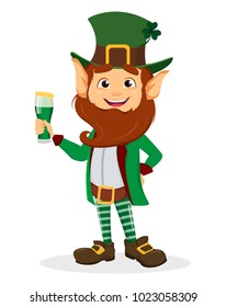 Happy Saint Patrick's Day. Smiling cartoon character leprechaun with green hat and glass of ale. Vector illustration