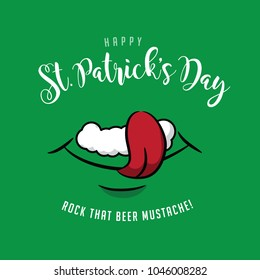 Happy Saint Patricks Day with smiling mouth licking beer foam. EPS10 vector illustration.