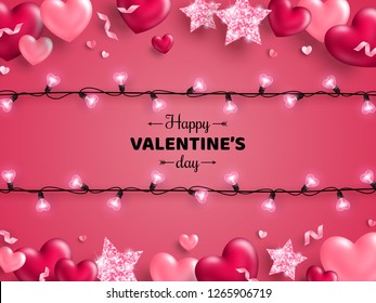 Happy Saint Valentine's day card with light bulbs, confetti and hearts on pink background. Holiday illuminated frame made of garland wire with place for text.