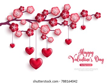 Happy Saint Valentines Day concept. Tree branch with paper flowers and hanging 3D hearts. Vector illustration.