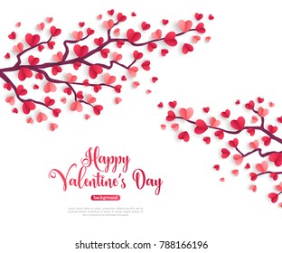 Happy Saint Valentines Day concept. Trees branch with paper heart shaped leaves. Vector illustration.
