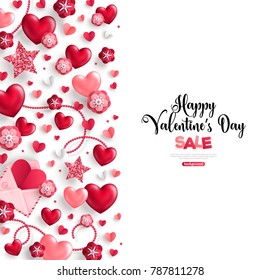 Happy saint valentine's day sale, vertical border, holiday objects on white background. Vector illustration. Glittering hearts, star and flowers.