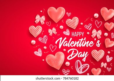 Happy saint valentines day vector illustration with heart, bow, pearl, lettering, ribbon, flower, rose. Template for card, menu, flyer, voucher, poster, cover, banner. Be my Valentine. Glitter Love.
