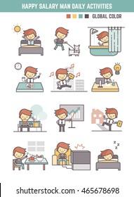 happy salary man daily life  routine