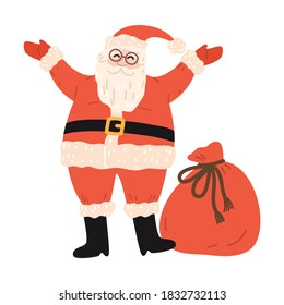 Happy santa character in red costume with bag of gifts during Christmas