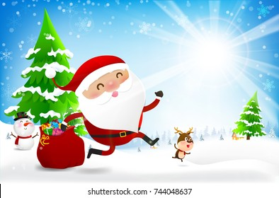 Happy santa claus cartoon snowman and reindeer with copy space and winter snow flake falling into snow floor  and lighting over blue abstract background for winter celebration and Christmas