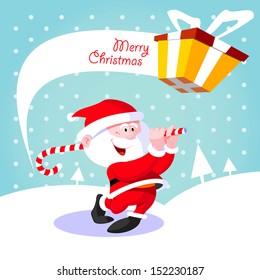 Happy Santa Claus. Creative Christmas card. Santa Claus golfer playing golf candy