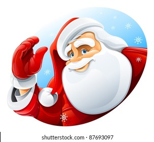 happy Santa Claus face greeting vector illustration isolated on white background